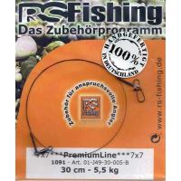 RS Fishing 7x7 PremiumLine 30cm Wirbel-Karabiner 5,5kg